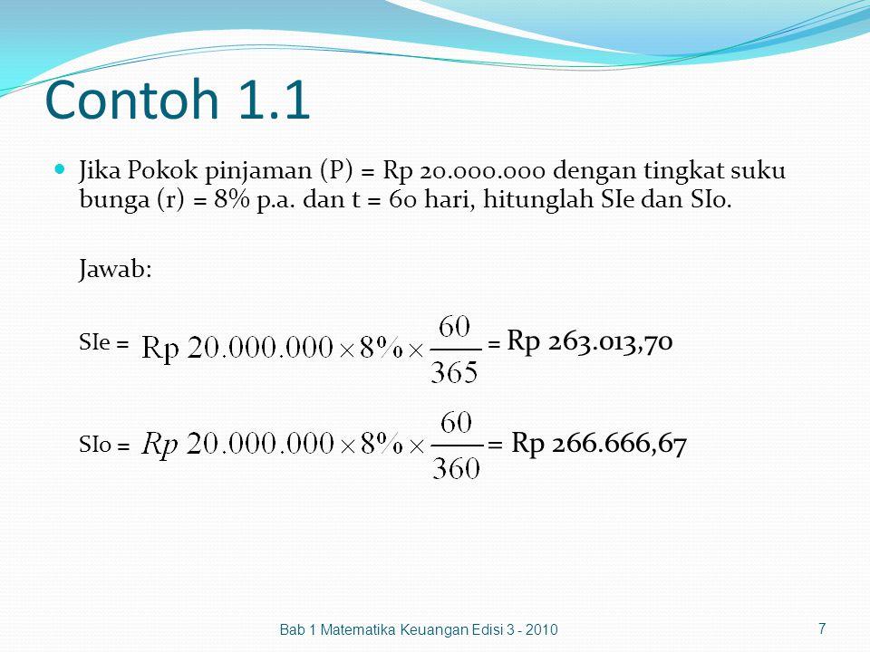 Contoh 1.1 Jika Pokok pinjaman (P) = Rp 20.000.000 dengan tingkat suku bunga (r) = 8% p.a. dan t = 60 hari, hitunglah SIe dan SIo. Jawab: SIe = = Rp 2