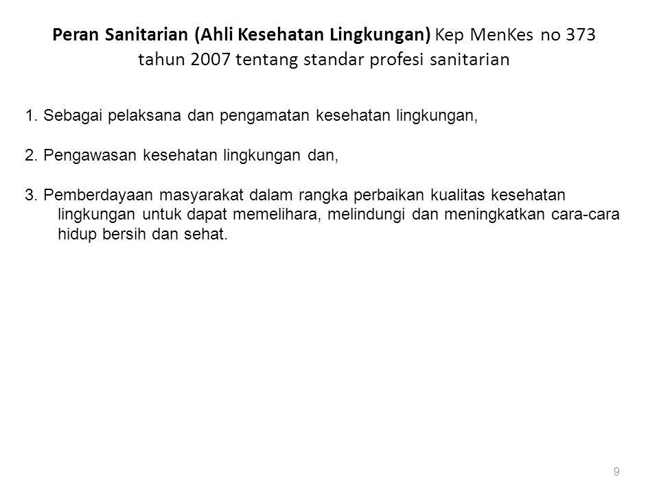 Peran Sanitarian (Ahli Kesehatan Lingkungan) Kep MenKes no 373 tahun 2007 tentang standar profesi sanitarian 9 1. Sebagai pelaksana dan pengamatan kes