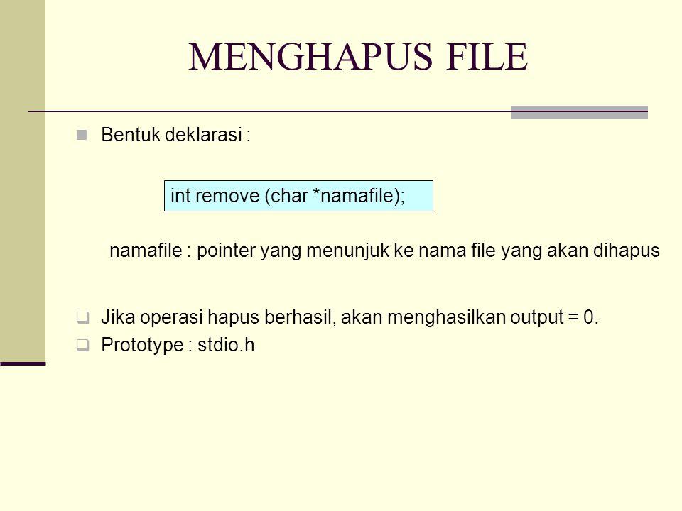 MENGHAPUS FILE Bentuk deklarasi : namafile : pointer yang menunjuk ke nama file yang akan dihapus  Jika operasi hapus berhasil, akan menghasilkan output = 0.