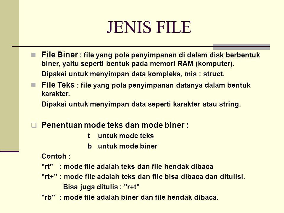JENIS FILE File Biner : file yang pola penyimpanan di dalam disk berbentuk biner, yaitu seperti bentuk pada memori RAM (komputer).
