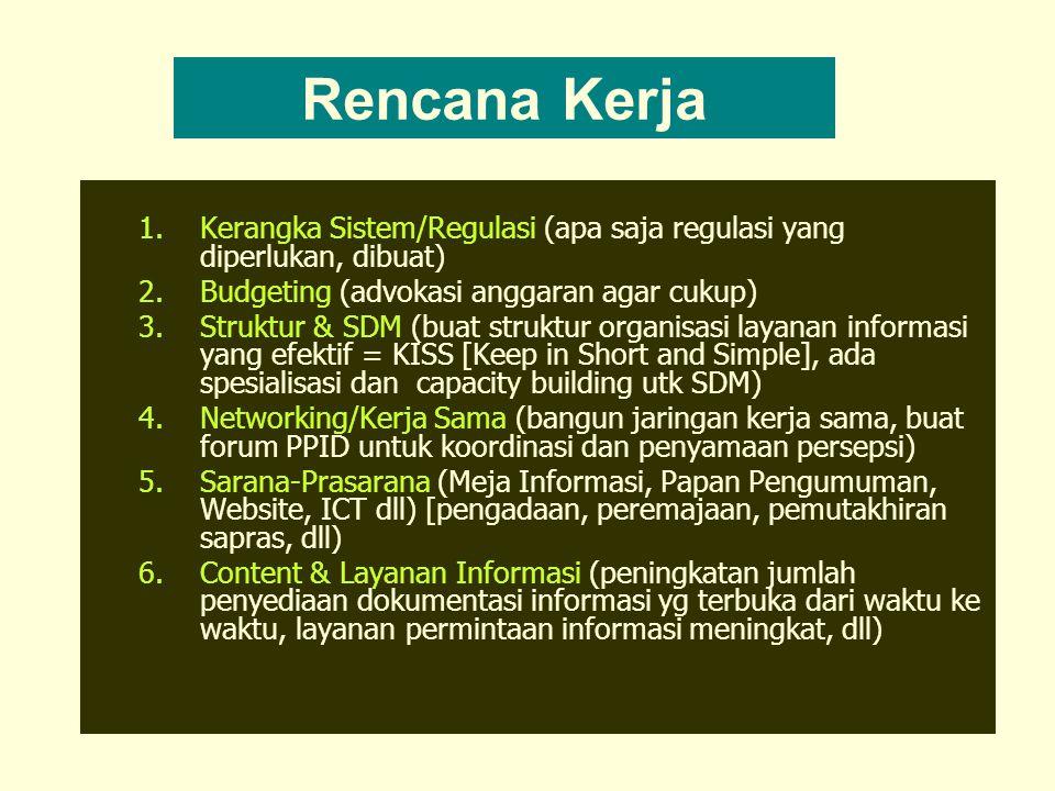 1.Kerangka Sistem/Regulasi (apa saja regulasi yang diperlukan, dibuat) 2.Budgeting (advokasi anggaran agar cukup) 3.Struktur & SDM (buat struktur organisasi layanan informasi yang efektif = KISS [Keep in Short and Simple], ada spesialisasi dan capacity building utk SDM) 4.Networking/Kerja Sama (bangun jaringan kerja sama, buat forum PPID untuk koordinasi dan penyamaan persepsi) 5.Sarana-Prasarana (Meja Informasi, Papan Pengumuman, Website, ICT dll) [pengadaan, peremajaan, pemutakhiran sapras, dll) 6.Content & Layanan Informasi (peningkatan jumlah penyediaan dokumentasi informasi yg terbuka dari waktu ke waktu, layanan permintaan informasi meningkat, dll) Rencana Kerja