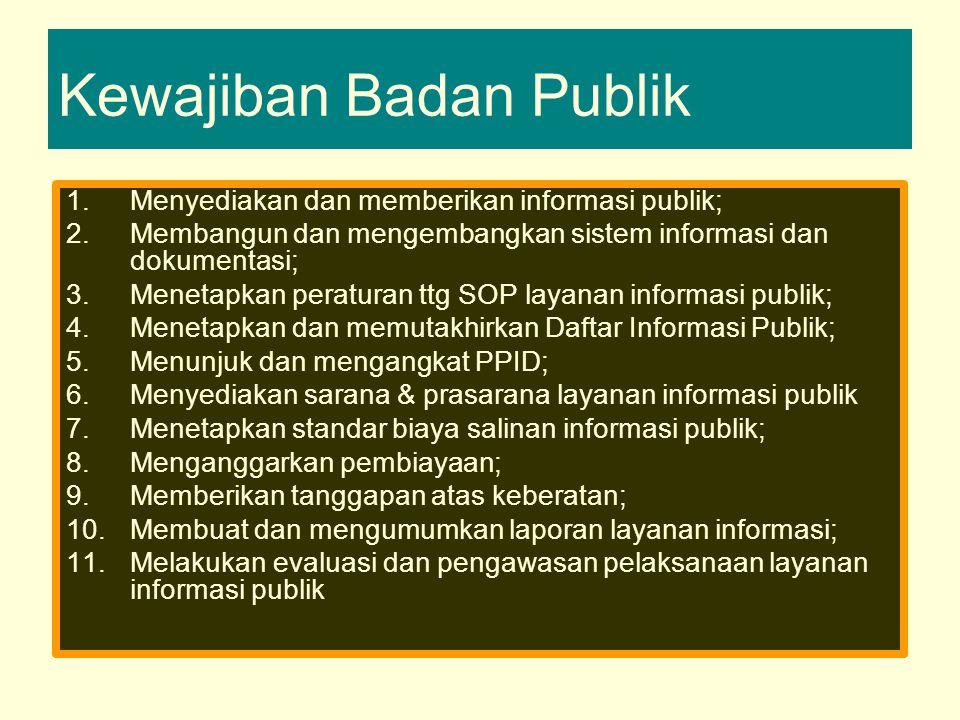 Kewajiban Badan Publik 1.Menyediakan dan memberikan informasi publik; 2.Membangun dan mengembangkan sistem informasi dan dokumentasi; 3.Menetapkan peraturan ttg SOP layanan informasi publik; 4.Menetapkan dan memutakhirkan Daftar Informasi Publik; 5.Menunjuk dan mengangkat PPID; 6.Menyediakan sarana & prasarana layanan informasi publik 7.Menetapkan standar biaya salinan informasi publik; 8.Menganggarkan pembiayaan; 9.Memberikan tanggapan atas keberatan; 10.Membuat dan mengumumkan laporan layanan informasi; 11.Melakukan evaluasi dan pengawasan pelaksanaan layanan informasi publik