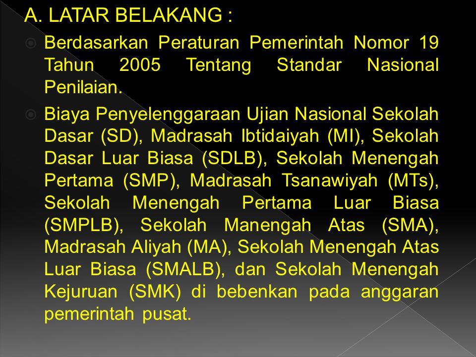 A. LATAR BELAKANG :  Berdasarkan Peraturan Pemerintah Nomor 19 Tahun 2005 Tentang Standar Nasional Penilaian.  Biaya Penyelenggaraan Ujian Nasional
