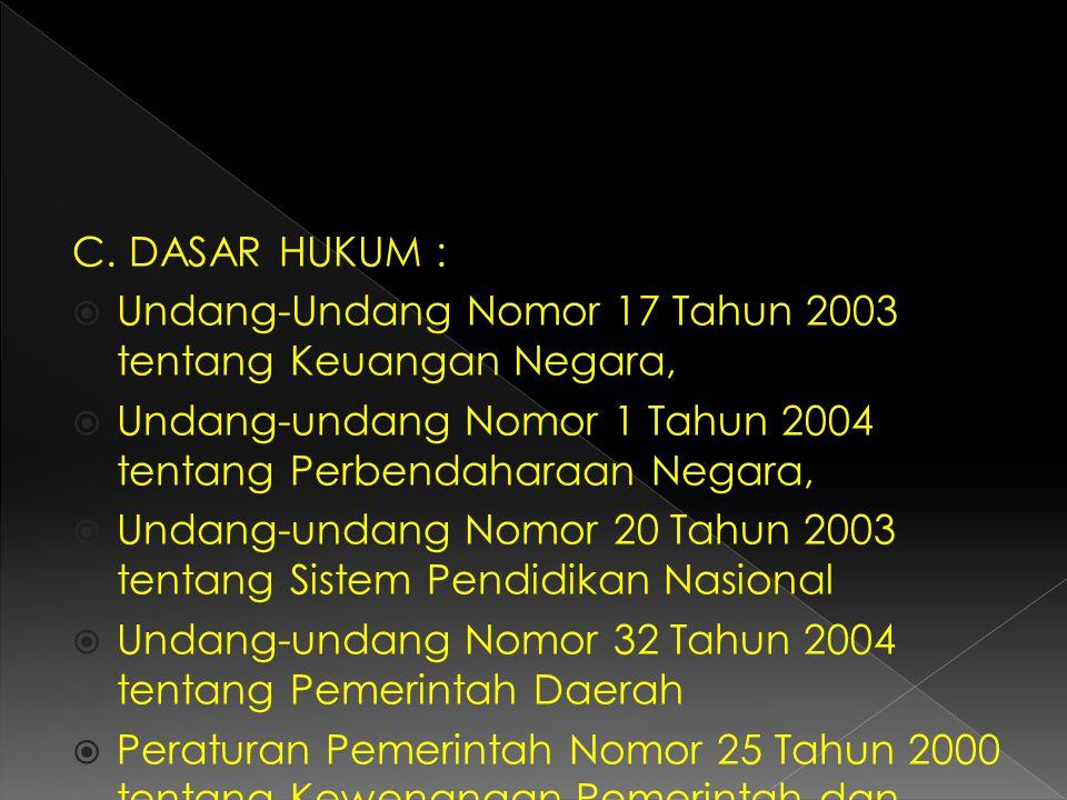 C. DASAR HUKUM :  Undang-Undang Nomor 17 Tahun 2003 tentang Keuangan Negara,  Undang-undang Nomor 1 Tahun 2004 tentang Perbendaharaan Negara,  Unda