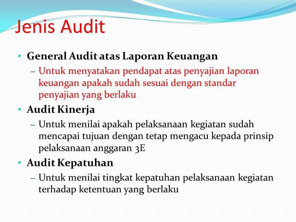 Jenis Audit General Audit atas Laporan Keuangan – Untuk menyatakan pendapat atas penyajian laporan keuangan apakah sudah sesuai dengan standar penyaji