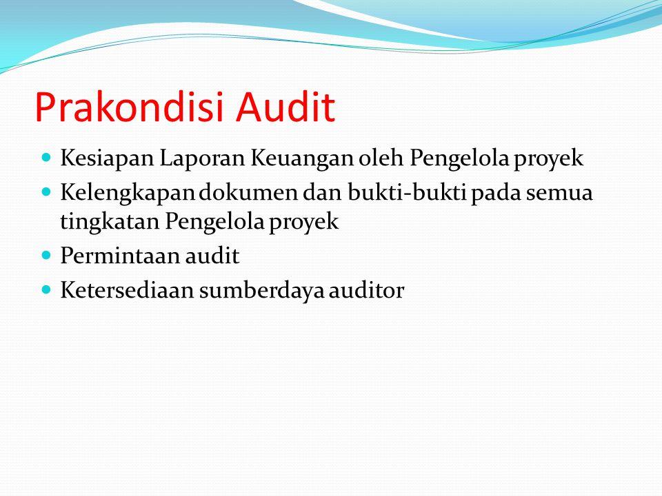 Prakondisi Audit Kesiapan Laporan Keuangan oleh Pengelola proyek Kelengkapan dokumen dan bukti-bukti pada semua tingkatan Pengelola proyek Permintaan