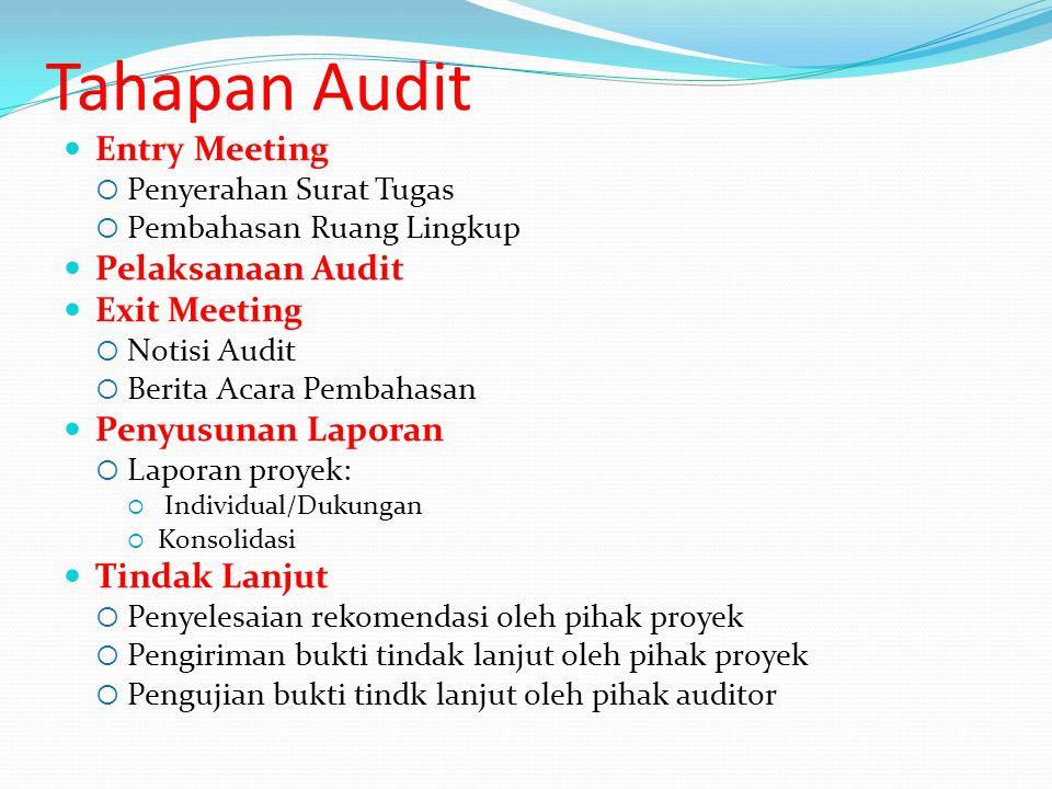 Tahapan Audit Entry Meeting  Penyerahan Surat Tugas  Pembahasan Ruang Lingkup Pelaksanaan Audit Exit Meeting  Notisi Audit  Berita Acara Pembahasa