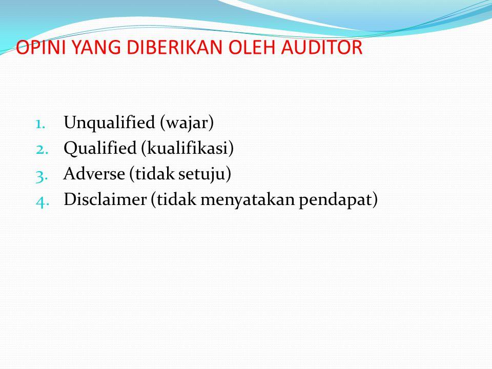 OPINI YANG DIBERIKAN OLEH AUDITOR 1.Unqualified (wajar) 2.Qualified (kualifikasi) 3.Adverse (tidak setuju) 4.Disclaimer (tidak menyatakan pendapat)