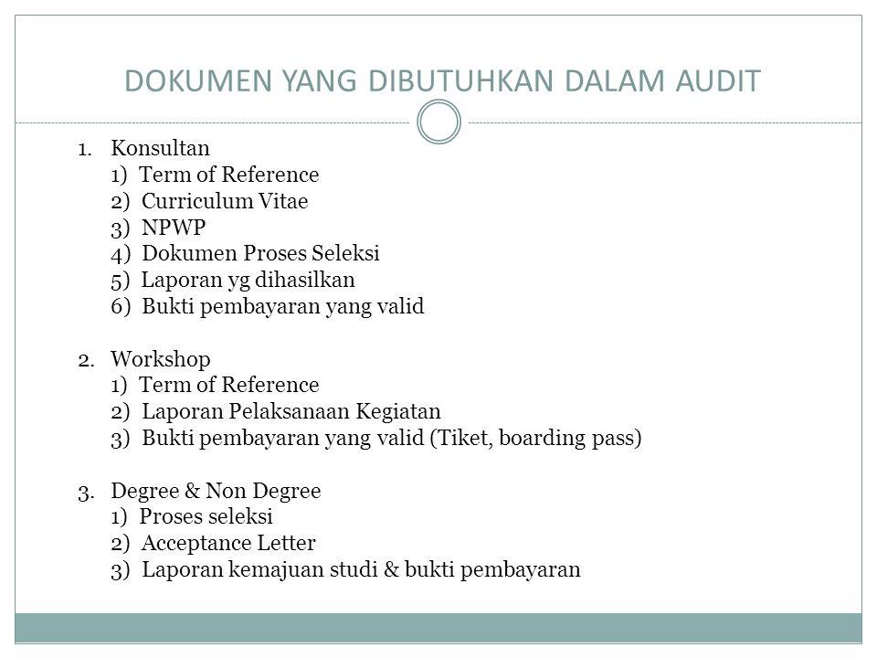 DOKUMEN YANG DIBUTUHKAN DALAM AUDIT 1.Konsultan 1) Term of Reference 2) Curriculum Vitae 3) NPWP 4) Dokumen Proses Seleksi 5) Laporan yg dihasilkan 6)