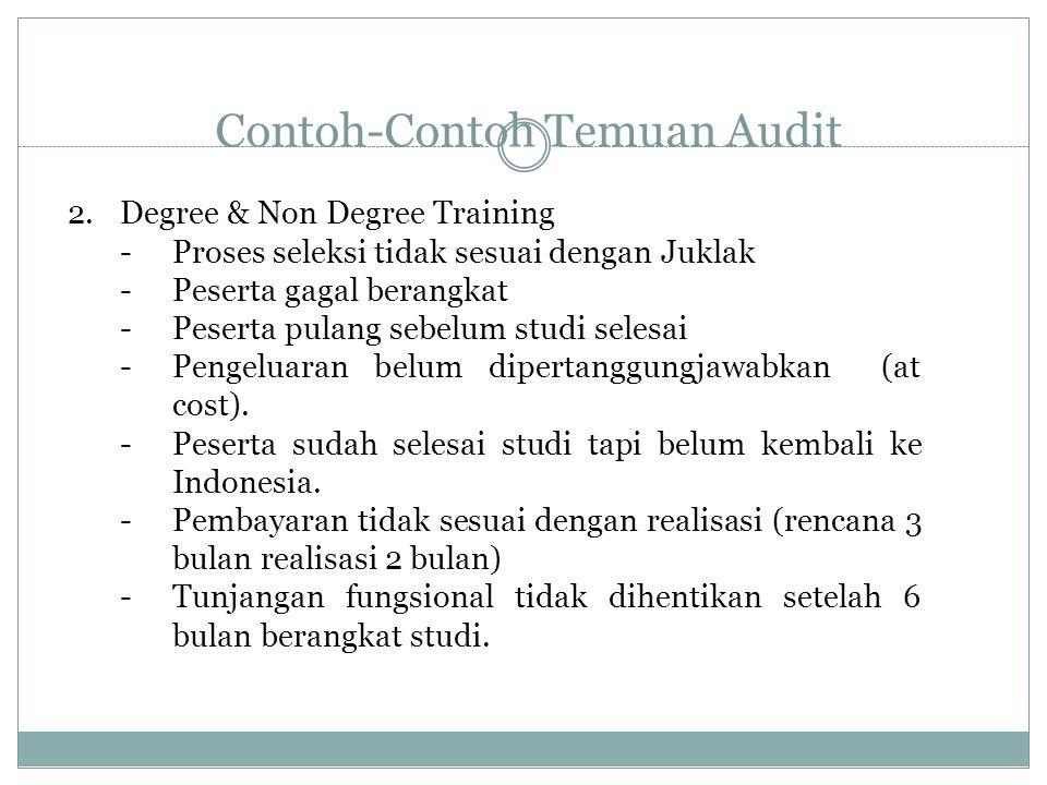 Contoh-Contoh Temuan Audit 2.Degree & Non Degree Training -Proses seleksi tidak sesuai dengan Juklak -Peserta gagal berangkat -Peserta pulang sebelum