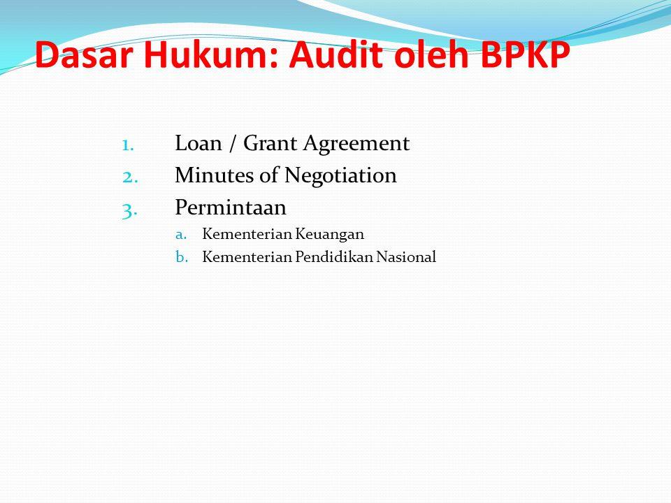 Dasar Hukum: Audit oleh BPKP 1.Loan / Grant Agreement 2.Minutes of Negotiation 3.Permintaan a.Kementerian Keuangan b.Kementerian Pendidikan Nasional