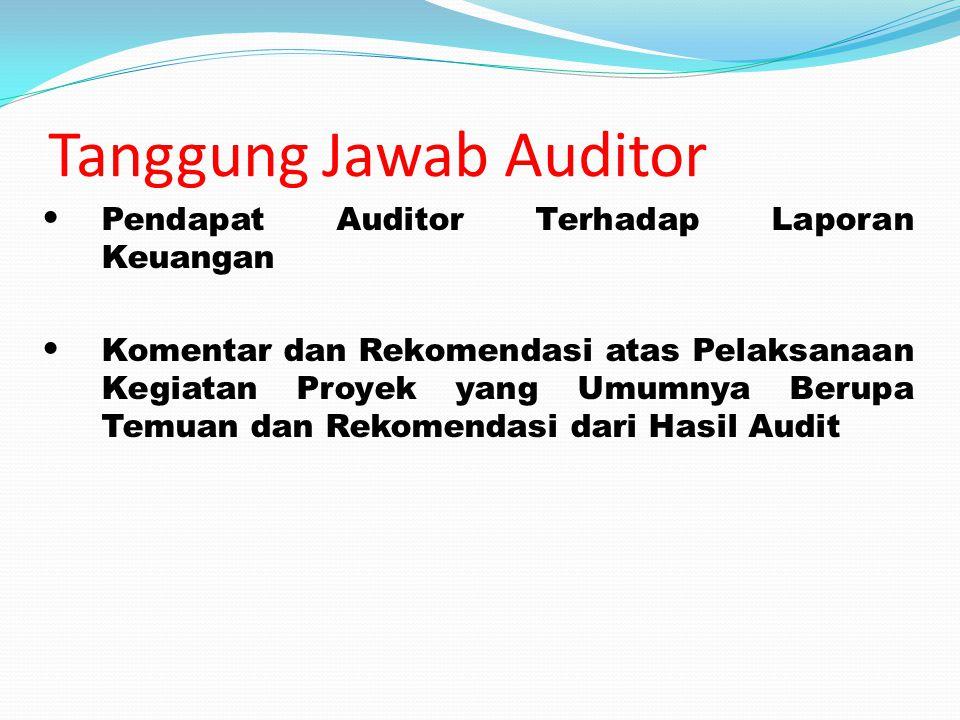 Tanggung Jawab Auditor Pendapat Auditor Terhadap Laporan Keuangan Komentar dan Rekomendasi atas Pelaksanaan Kegiatan Proyek yang Umumnya Berupa Temuan