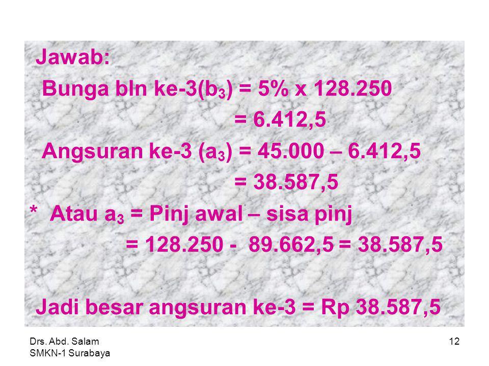 Drs. Abd. Salam SMKN-1 Surabaya 11 Contoh 3: Berdasarkan tabel di atas, besar angsuran ke-3 adalah…. Bln ke Pinjaman awal A = 45.000,00Sisa Pinjaman b