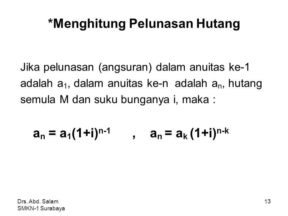 Drs. Abd. Salam SMKN-1 Surabaya 12 Jawab: Bunga bln ke-3(b 3 ) = 5% x 128.250 = 6.412,5 Angsuran ke-3 (a 3 ) = 45.000 – 6.412,5 = 38.587,5 * Atau a 3