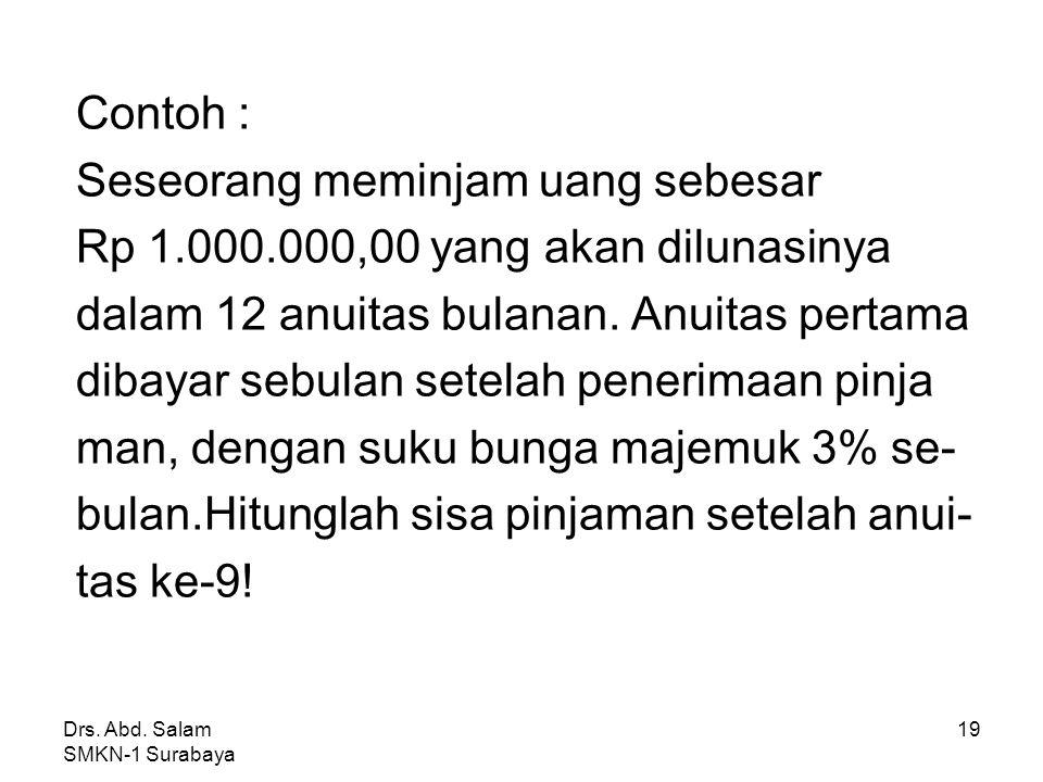 Drs. Abd. Salam SMKN-1 Surabaya 18 3. Hubungan antara bunga dengan sisa pinjaman, yaitu : S m =