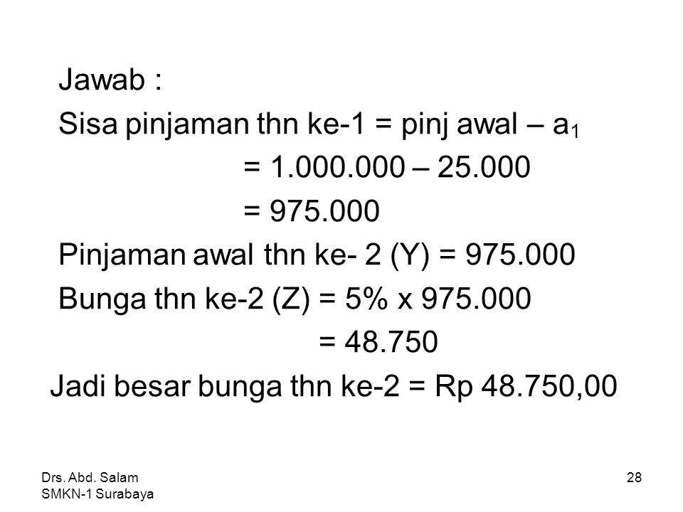 Drs. Abd. Salam SMKN-1 Surabaya 27 4. Dari tabel di atas, nilai Z yang memenuhi adalah ….. Thn ke Pinjaman awal AnuitasSisa pinjaman Bunga 5% angsuran