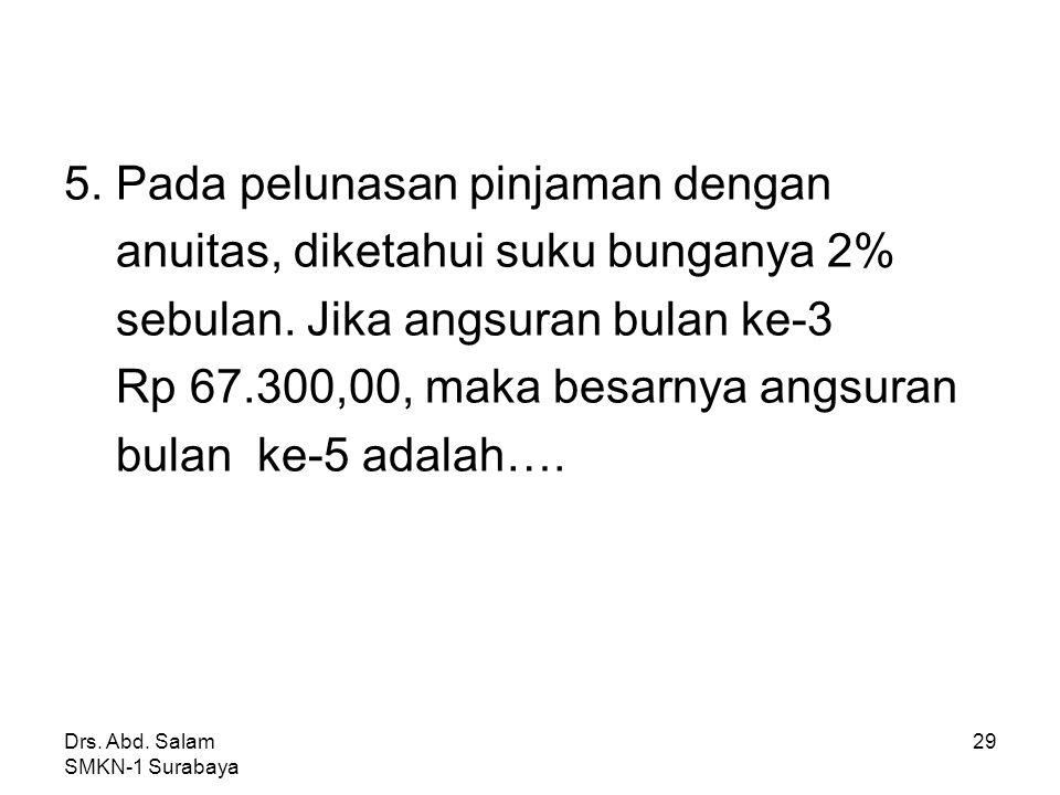 Drs. Abd. Salam SMKN-1 Surabaya 28 Jawab : Sisa pinjaman thn ke-1 = pinj awal – a 1 = 1.000.000 – 25.000 = 975.000 Pinjaman awal thn ke- 2 (Y) = 975.0