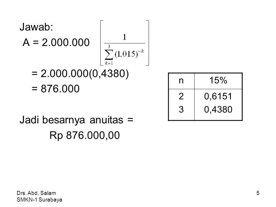 Drs. Abd. Salam SMKN-1 Surabaya 4 * Menghitung anuitas Dengan notasi sigma: A = M Contoh: Pinjaman sebesar Rp 2.000.000,00 akan diluna si dengan siste