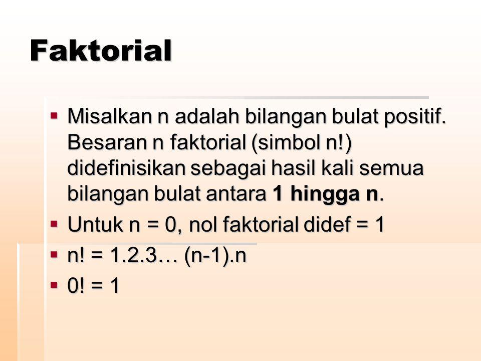 Faktorial  Misalkan n adalah bilangan bulat positif. Besaran n faktorial (simbol n!) didefinisikan sebagai hasil kali semua bilangan bulat antara 1 h