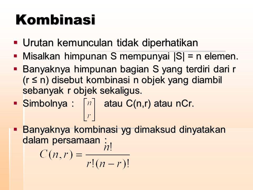 Kombinasi  Urutan kemunculan tidak diperhatikan  Misalkan himpunan S mempunyai |S| = n elemen.  Banyaknya himpunan bagian S yang terdiri dari r (r
