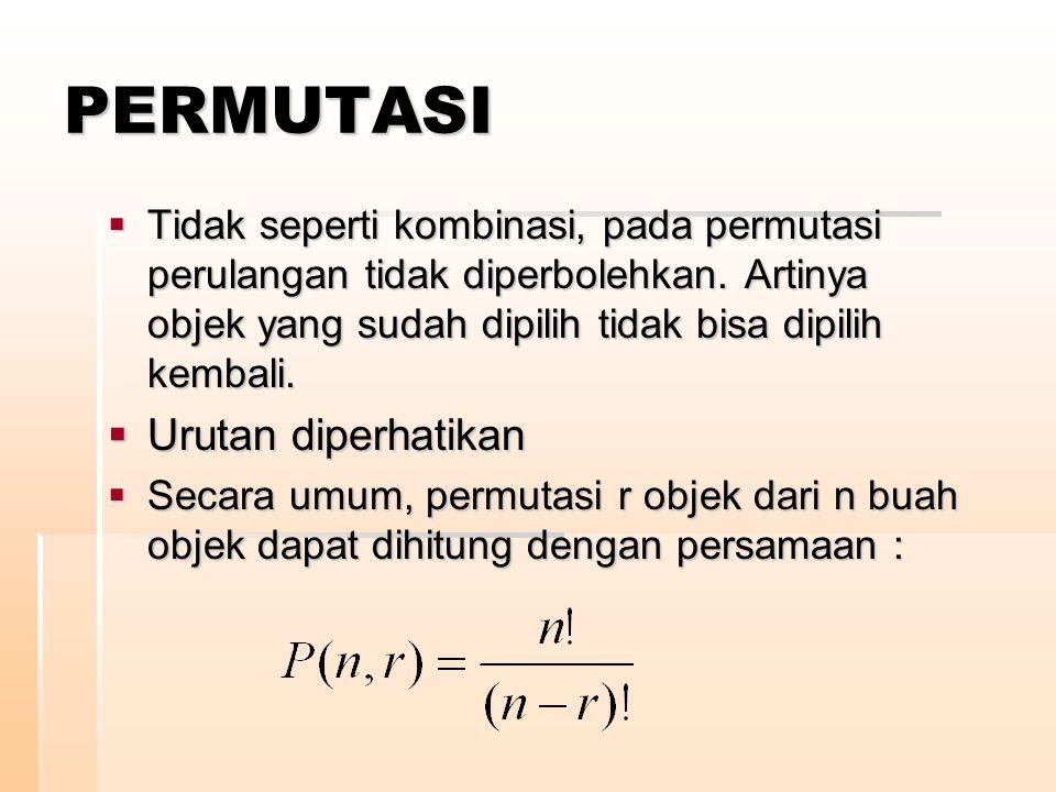 PERMUTASI  Tidak seperti kombinasi, pada permutasi perulangan tidak diperbolehkan. Artinya objek yang sudah dipilih tidak bisa dipilih kembali.  Uru
