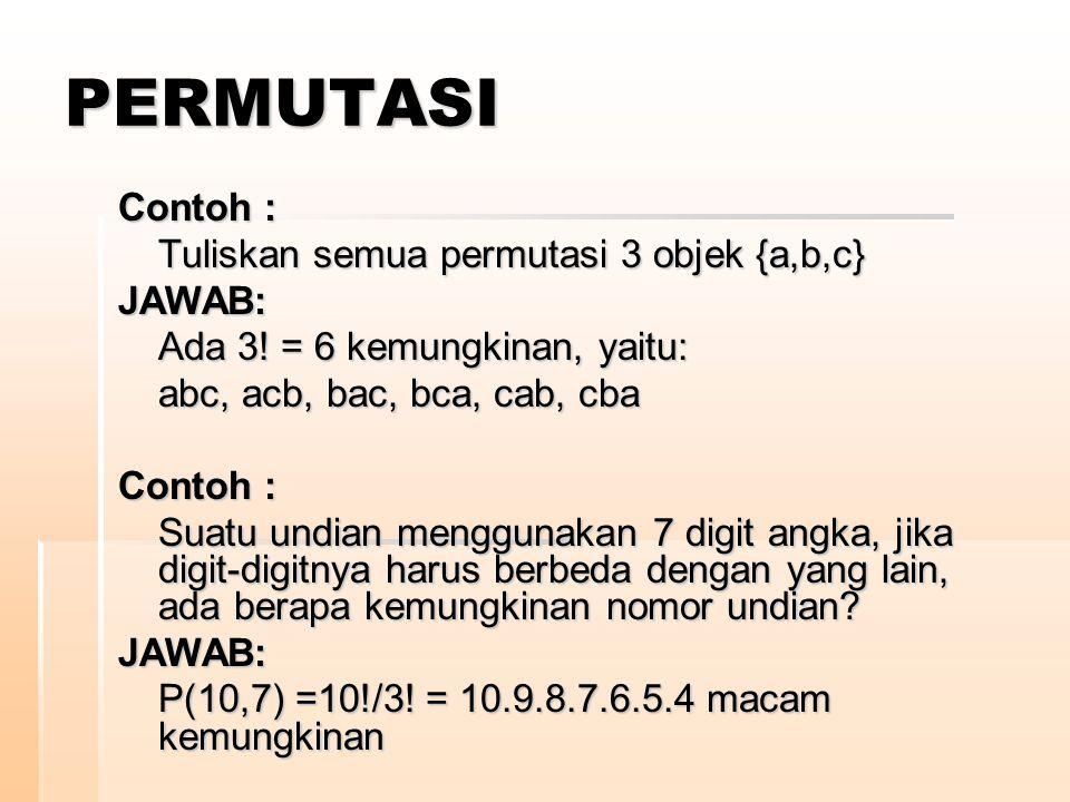 PERMUTASI Contoh : Tuliskan semua permutasi 3 objek {a,b,c} JAWAB: Ada 3! = 6 kemungkinan, yaitu: abc, acb, bac, bca, cab, cba Contoh : Suatu undian m