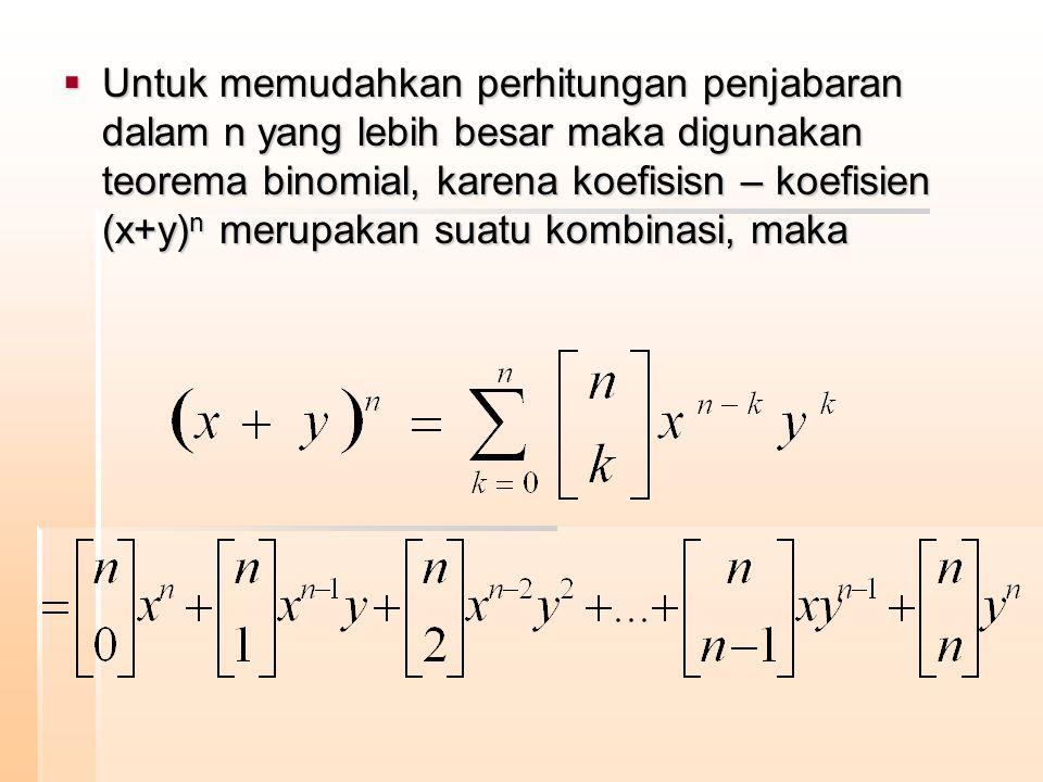  Untuk memudahkan perhitungan penjabaran dalam n yang lebih besar maka digunakan teorema binomial, karena koefisisn – koefisien (x+y) n merupakan sua