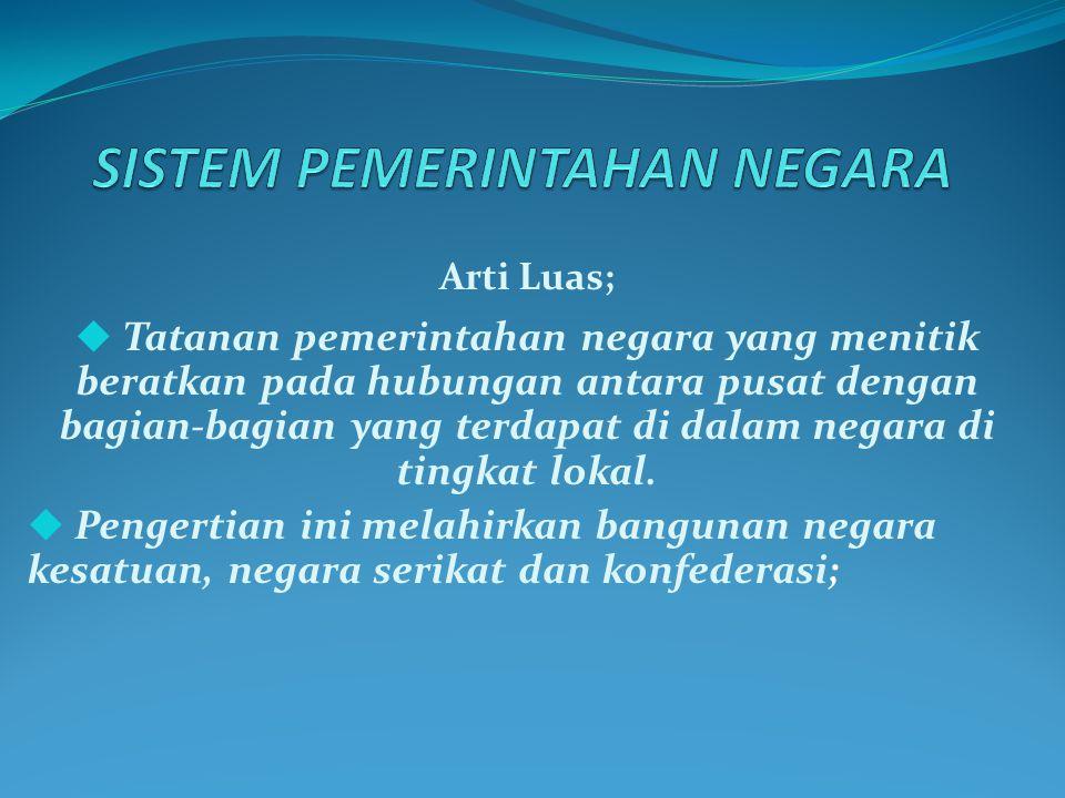 Arti Luas;  Tatanan pemerintahan negara yang menitik beratkan pada hubungan antara pusat dengan bagian-bagian yang terdapat di dalam negara di tingkat lokal.