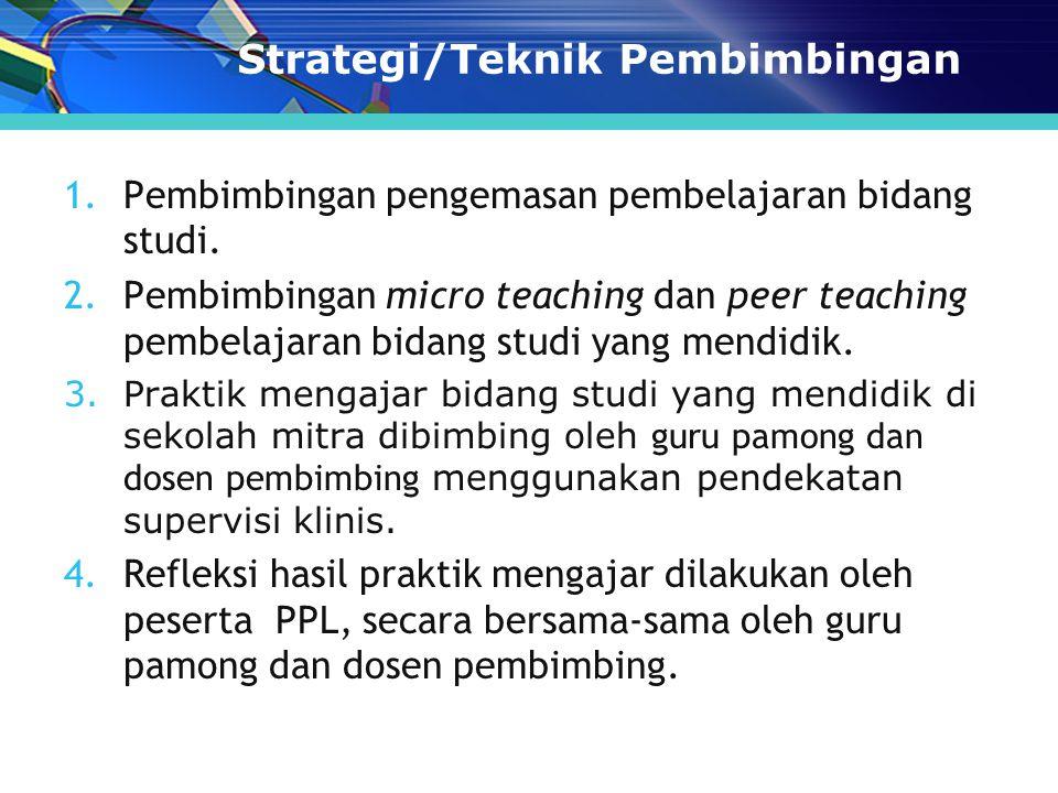 Strategi/Teknik Pembimbingan 1.Pembimbingan pengemasan pembelajaran bidang studi.