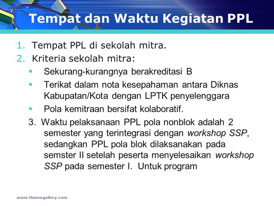 Tempat dan Waktu Kegiatan PPL 1.Tempat PPL di sekolah mitra.