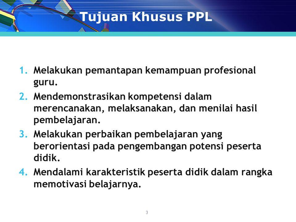 Tujuan Khusus PPL 1.Melakukan pemantapan kemampuan profesional guru.