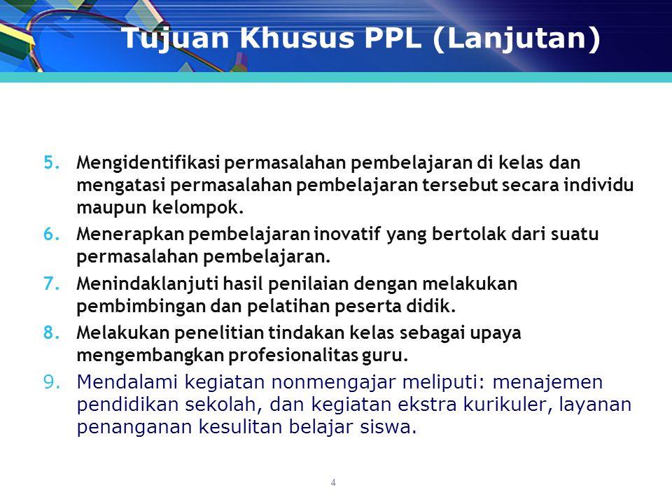 Tujuan Khusus PPL (Lanjutan) 5.Mengidentifikasi permasalahan pembelajaran di kelas dan mengatasi permasalahan pembelajaran tersebut secara individu maupun kelompok.