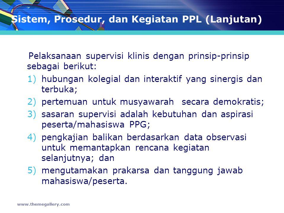 Sistem, Prosedur, dan Kegiatan PPL (Lanjutan) Penempatan peserta PPL di sekolah mitra dikoordinasikan oleh Pelaksana PPG dan Unit Pelaksana PPL LPTK penyelenggara.