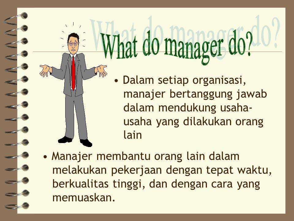 Dalam setiap organisasi, manajer bertanggung jawab dalam mendukung usaha- usaha yang dilakukan orang lain Manajer membantu orang lain dalam melakukan pekerjaan dengan tepat waktu, berkualitas tinggi, dan dengan cara yang memuaskan.