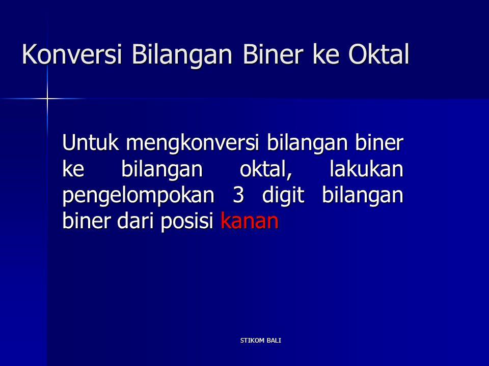 Konversi Bilangan Biner ke Oktal Untuk mengkonversi bilangan biner ke bilangan oktal, lakukan pengelompokan 3 digit bilangan biner dari posisi kanan