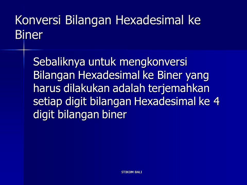 STIKOM BALI Konversi Bilangan Hexadesimal ke Biner Sebaliknya untuk mengkonversi Bilangan Hexadesimal ke Biner yang harus dilakukan adalah terjemahkan