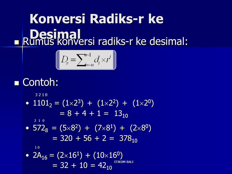 STIKOM BALI Konversi Radiks-r ke Desimal Rumus konversi radiks-r ke desimal: Rumus konversi radiks-r ke desimal: Contoh: Contoh: 3 2 1 0 3 2 1 0 1101