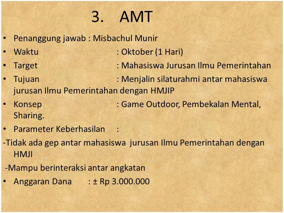 3.AMT Penanggung jawab: Misbachul Munir Waktu: Oktober (1 Hari) Target : Mahasiswa Jurusan Ilmu Pemerintahan Tujuan: Menjalin silaturahmi antar mahasi