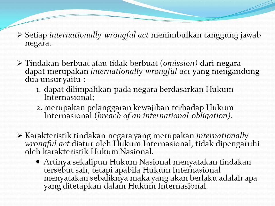  Setiap internationally wrongful act menimbulkan tanggung jawab negara.
