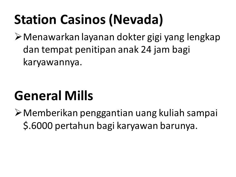 Station Casinos (Nevada)  Menawarkan layanan dokter gigi yang lengkap dan tempat penitipan anak 24 jam bagi karyawannya. General Mills  Memberikan p