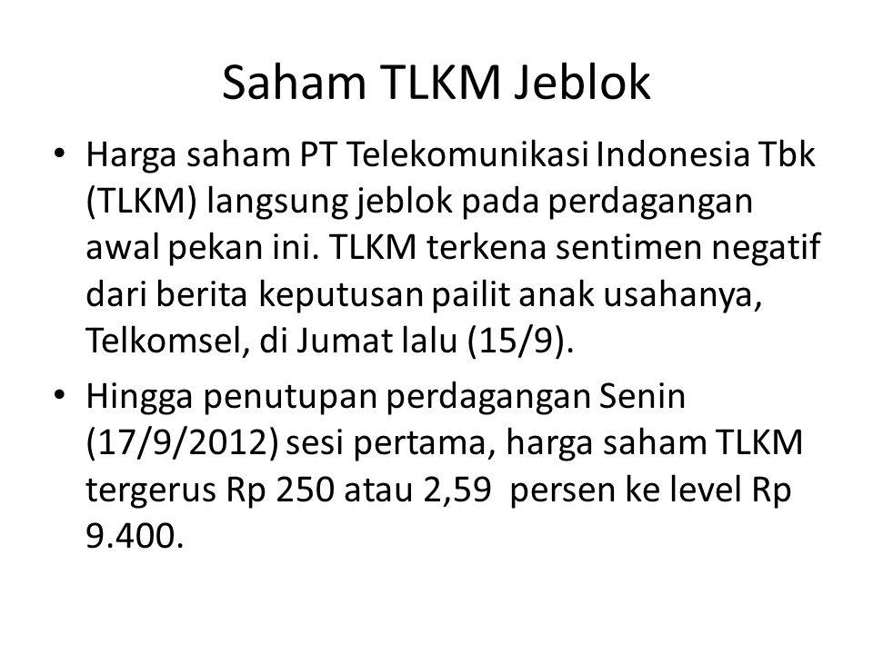 Saham TLKM Jeblok Harga saham PT Telekomunikasi Indonesia Tbk (TLKM) langsung jeblok pada perdagangan awal pekan ini. TLKM terkena sentimen negatif da