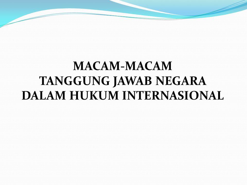 MACAM-MACAM TANGGUNG JAWAB NEGARA DALAM HUKUM INTERNASIONAL