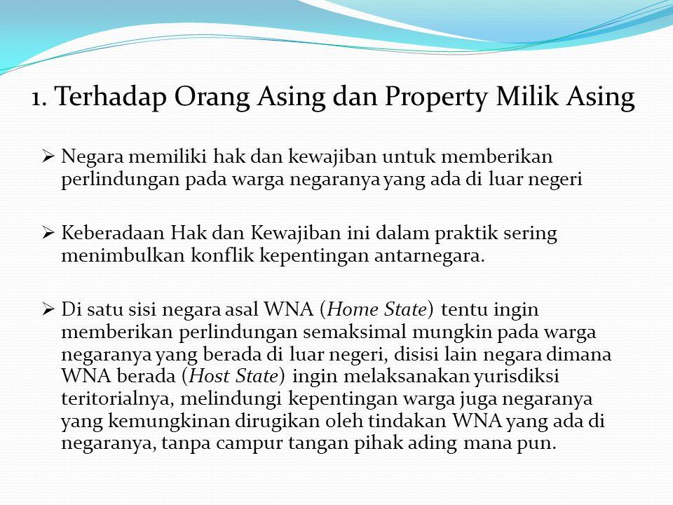 1. Terhadap Orang Asing dan Property Milik Asing  Negara memiliki hak dan kewajiban untuk memberikan perlindungan pada warga negaranya yang ada di lu