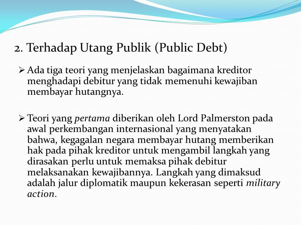 2. Terhadap Utang Publik (Public Debt)  Ada tiga teori yang menjelaskan bagaimana kreditor menghadapi debitur yang tidak memenuhi kewajiban membayar