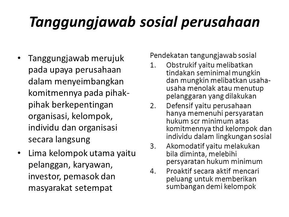 Tanggungjawab sosial perusahaan Tanggungjawab merujuk pada upaya perusahaan dalam menyeimbangkan komitmennya pada pihak- pihak berkepentingan organisa
