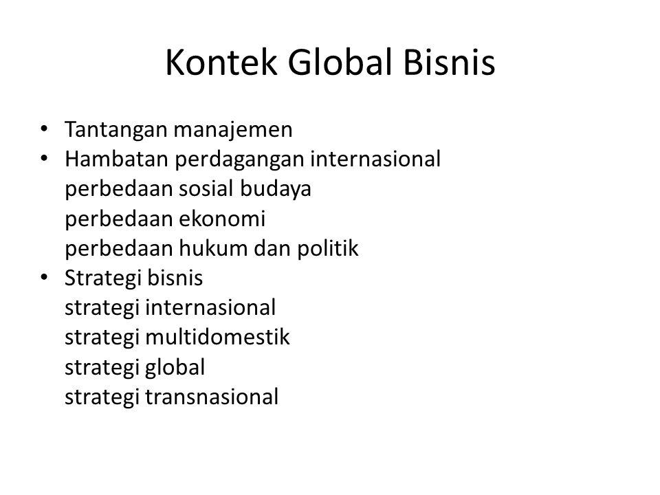 Kontek Global Bisnis Tantangan manajemen Hambatan perdagangan internasional perbedaan sosial budaya perbedaan ekonomi perbedaan hukum dan politik Strategi bisnis strategi internasional strategi multidomestik strategi global strategi transnasional