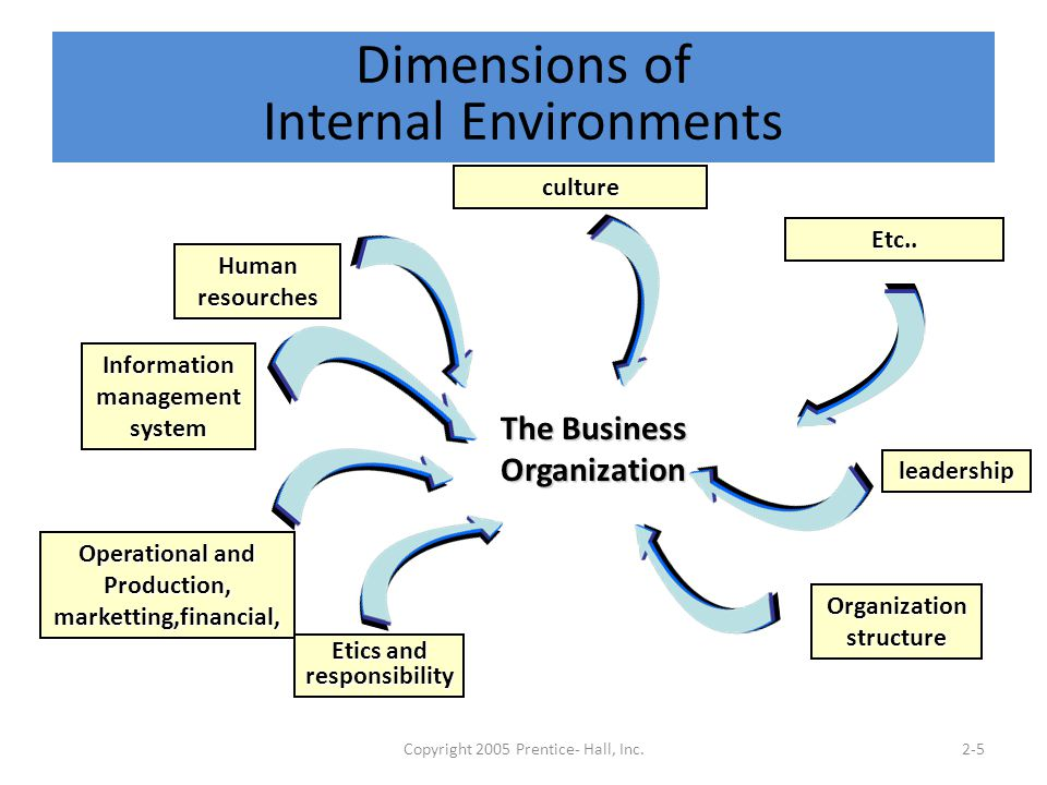 Copyright 2005 Prentice- Hall, Inc.2-5 Dimensions of Internal Environments The Business Organization Human resourches culture Etics and responsibility