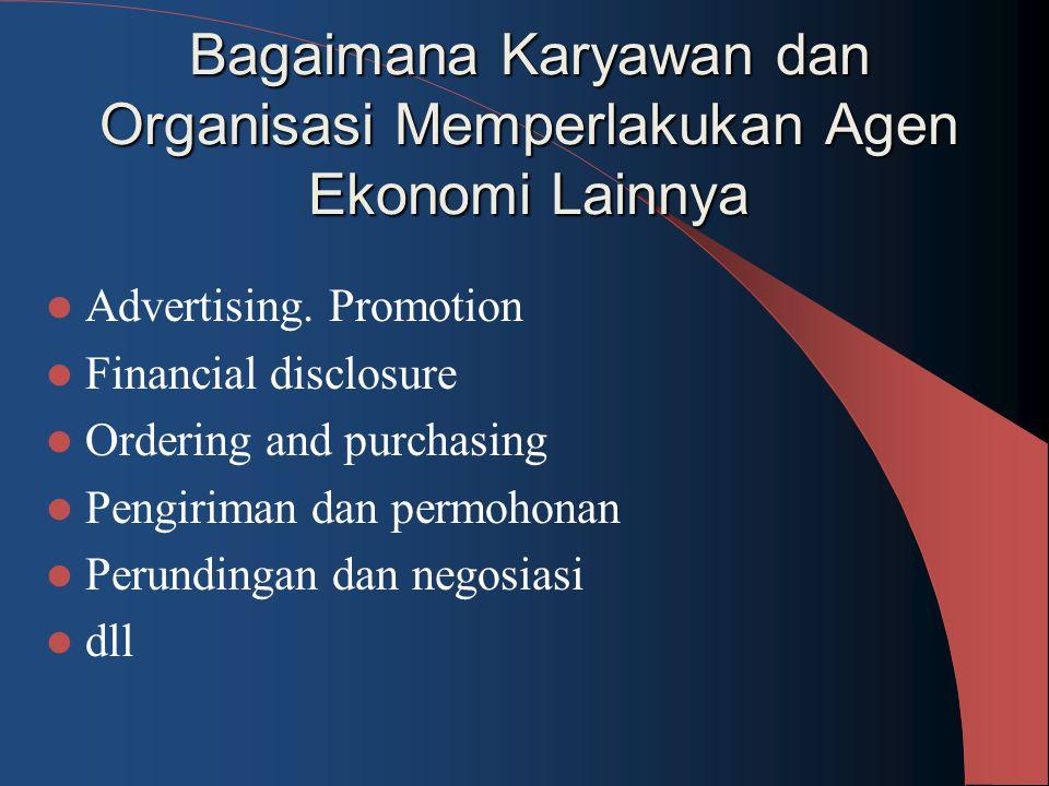 Bagaimana Karyawan dan Organisasi Memperlakukan Agen Ekonomi Lainnya Advertising. Promotion Financial disclosure Ordering and purchasing Pengiriman da