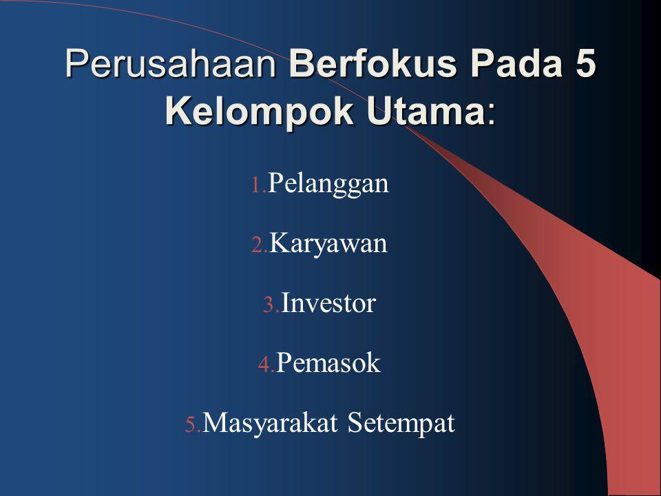 Perusahaan Berfokus Pada 5 Kelompok Utama: 1. Pelanggan 2. Karyawan 3. Investor 4. Pemasok 5. Masyarakat Setempat