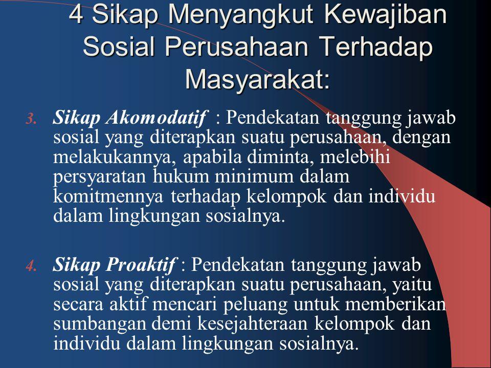 4 Sikap Menyangkut Kewajiban Sosial Perusahaan Terhadap Masyarakat: 3. Sikap Akomodatif : Pendekatan tanggung jawab sosial yang diterapkan suatu perus
